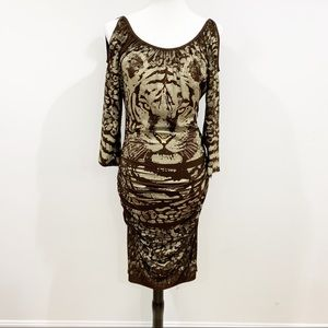 Cache tiger gold brown stretch dress Sz M